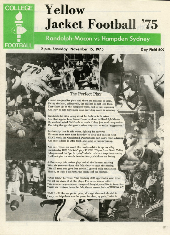 1975 R-MC vs. H-SC football program cover